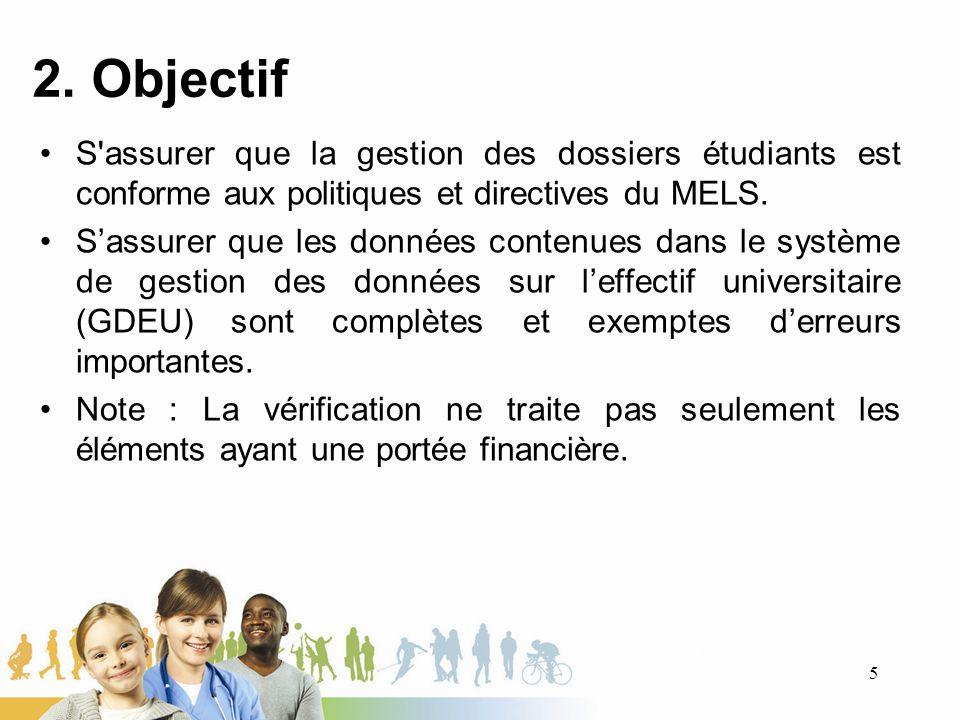 2. Objectif S assurer que la gestion des dossiers étudiants est conforme aux politiques et directives du MELS.