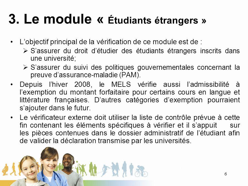 3. Le module « Étudiants étrangers »