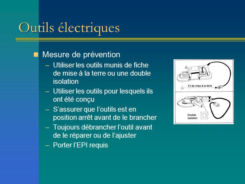 Outils électriques Mesure de prévention