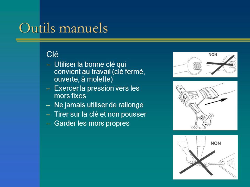Outils manuels Clé. Utiliser la bonne clé qui convient au travail (clé fermé, ouverte, à molette) Exercer la pression vers les mors fixes.