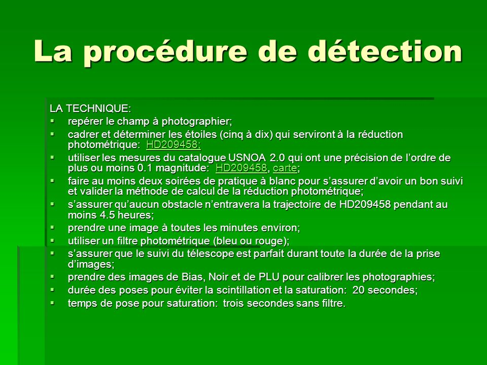 La procédure de détection