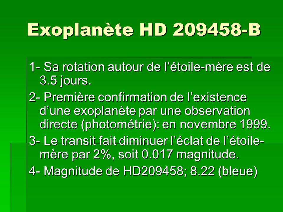 Exoplanète HD 209458-B 1- Sa rotation autour de l'étoile-mère est de 3.5 jours.