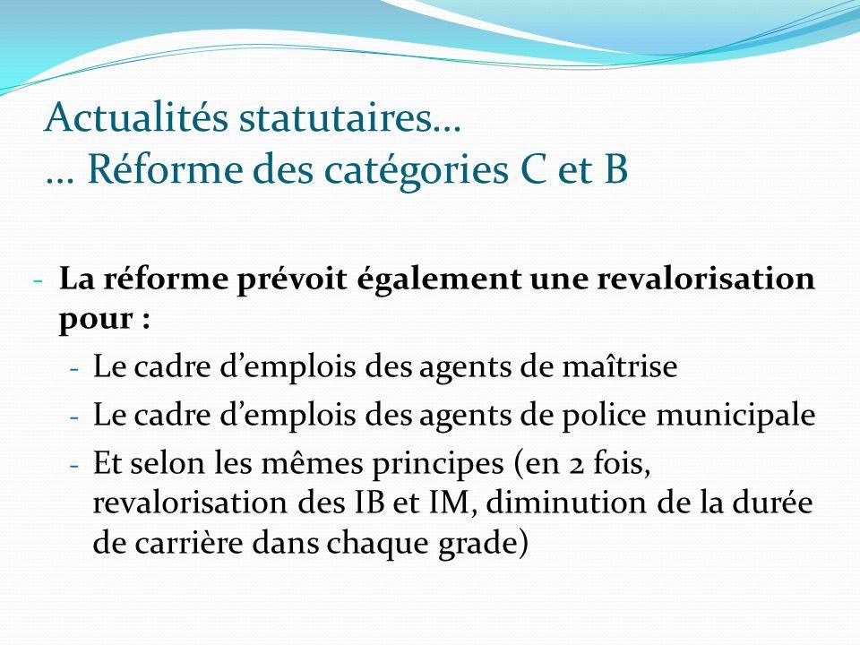 Actualités statutaires… … Réforme des catégories C et B