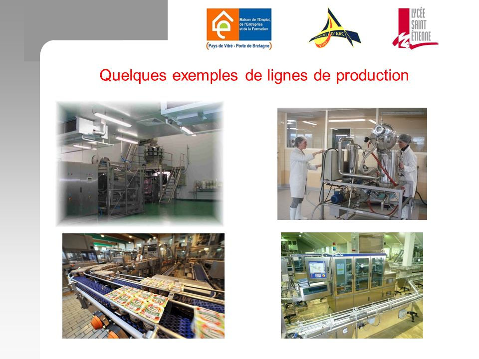 Quelques exemples de lignes de production