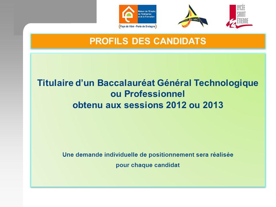 Titulaire d'un Baccalauréat Général Technologique ou Professionnel