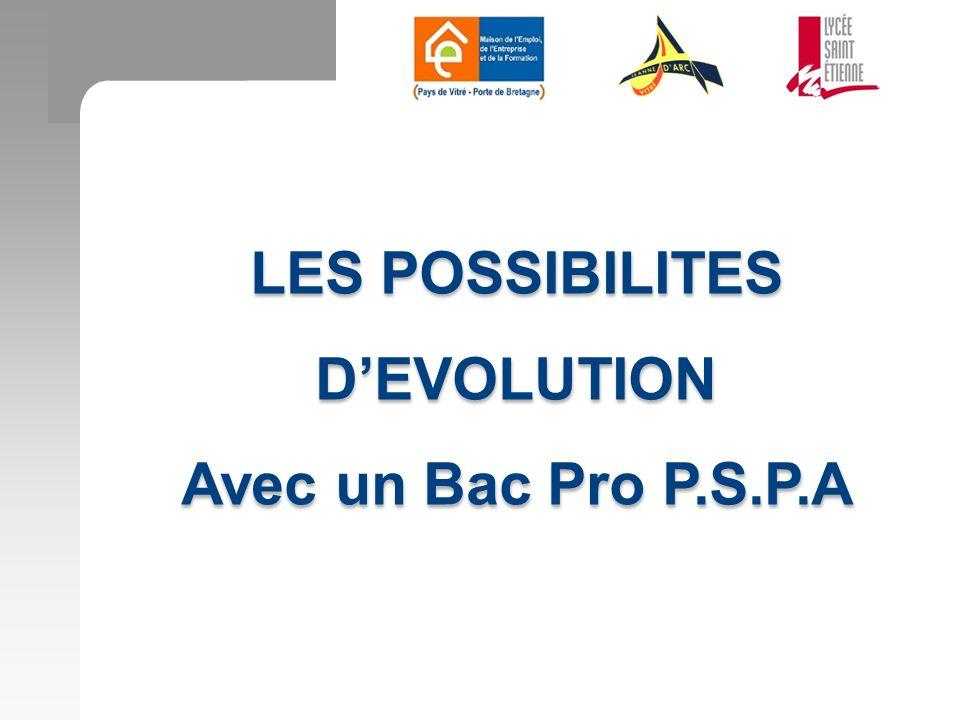 LES POSSIBILITES D'EVOLUTION Avec un Bac Pro P.S.P.A