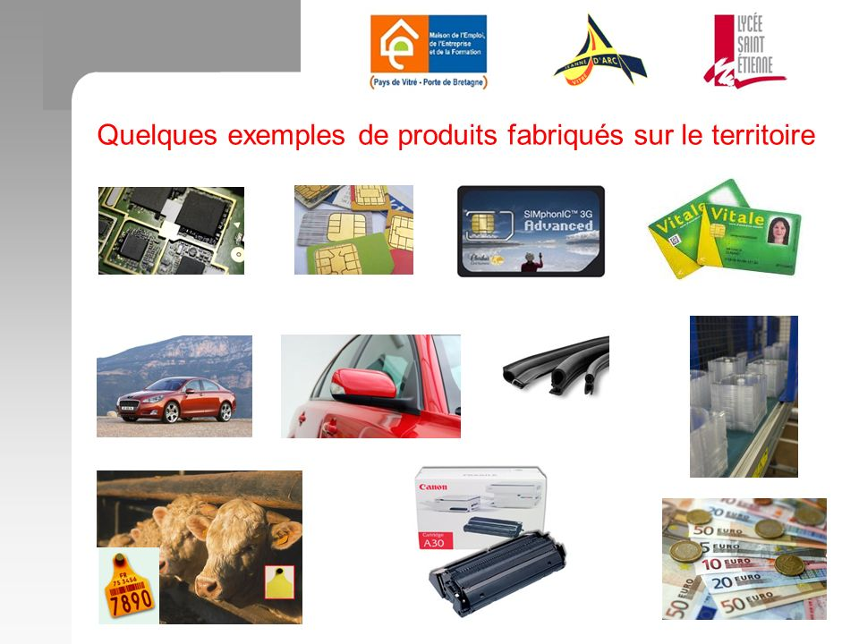 Quelques exemples de produits fabriqués sur le territoire