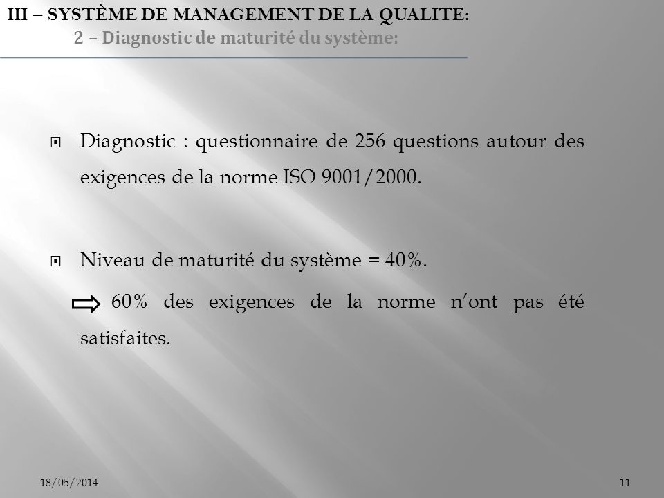 Niveau de maturité du système = 40%.
