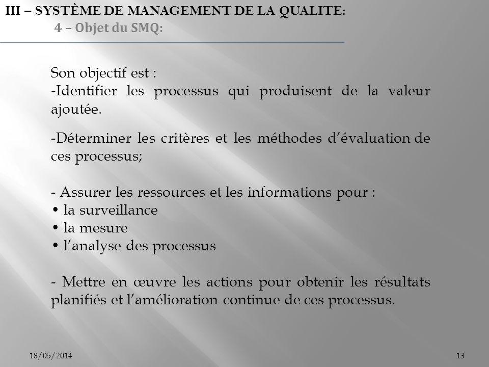 Identifier les processus qui produisent de la valeur ajoutée.