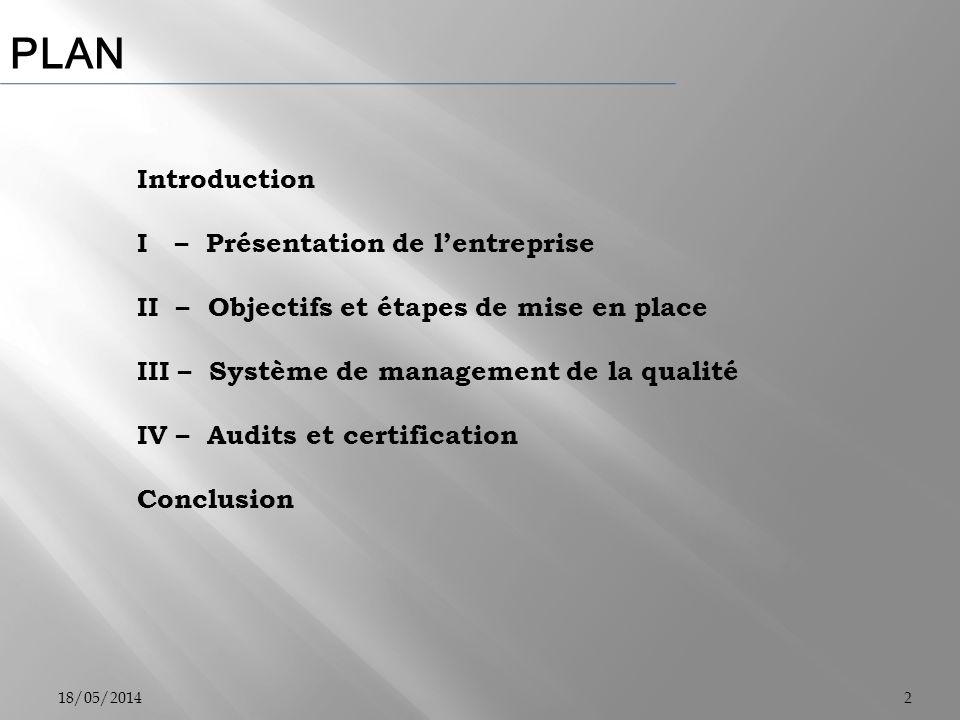 PLAN Introduction I – Présentation de l'entreprise