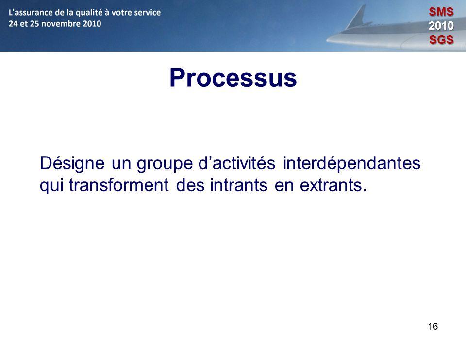 SMS 2010. SGS. Processus. Désigne un groupe d'activités interdépendantes qui transforment des intrants en extrants.
