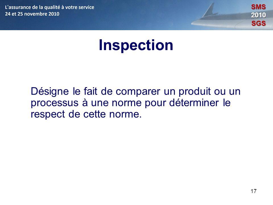 SMS 2010. SGS. Inspection. Désigne le fait de comparer un produit ou un processus à une norme pour déterminer le respect de cette norme.