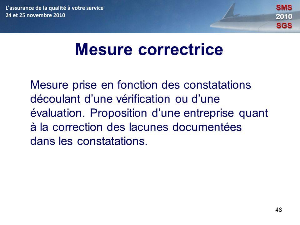 SMS 2010. SGS. Mesure correctrice.