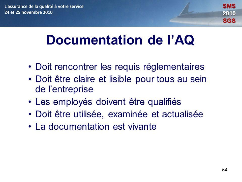 Documentation de l'AQ Doit rencontrer les requis réglementaires