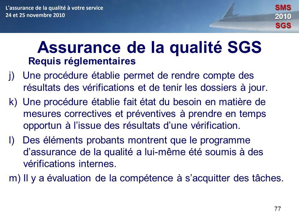 Assurance de la qualité SGS