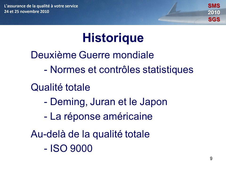 Historique Deuxième Guerre mondiale - Normes et contrôles statistiques