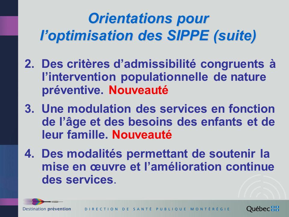 Orientations pour l'optimisation des SIPPE (suite)
