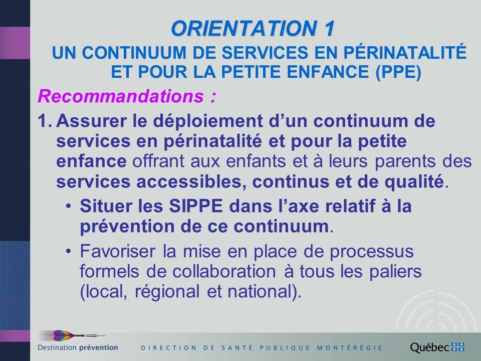 ORIENTATION 1 UN CONTINUUM DE SERVICES EN PÉRINATALITÉ ET POUR LA PETITE ENFANCE (PPE) Recommandations :