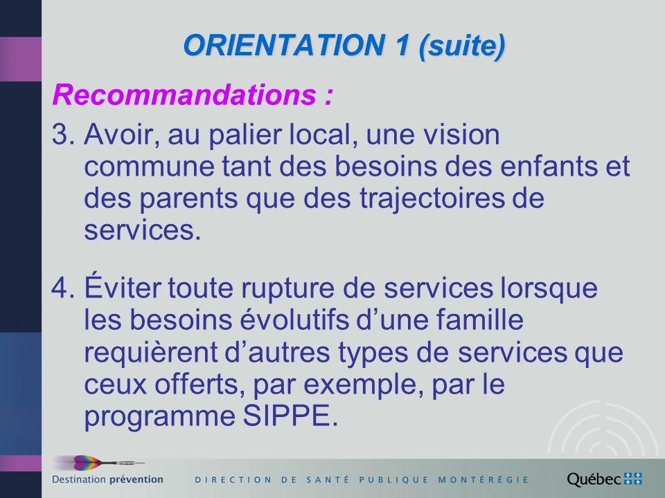 ORIENTATION 1 (suite) Recommandations :