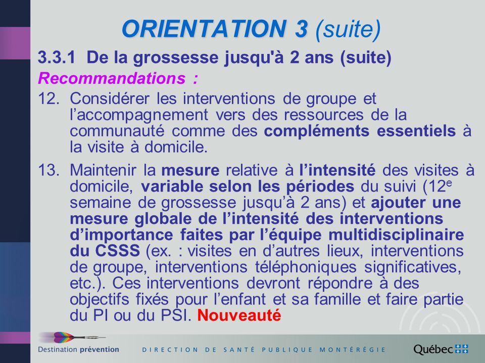 ORIENTATION 3 (suite) 3.3.1 De la grossesse jusqu à 2 ans (suite)