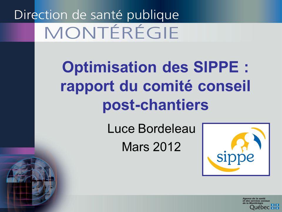 Optimisation des SIPPE : rapport du comité conseil post-chantiers