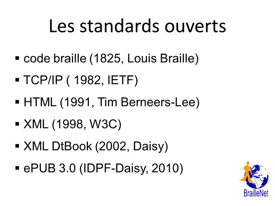 Les standards ouverts code braille (1825, Louis Braille)