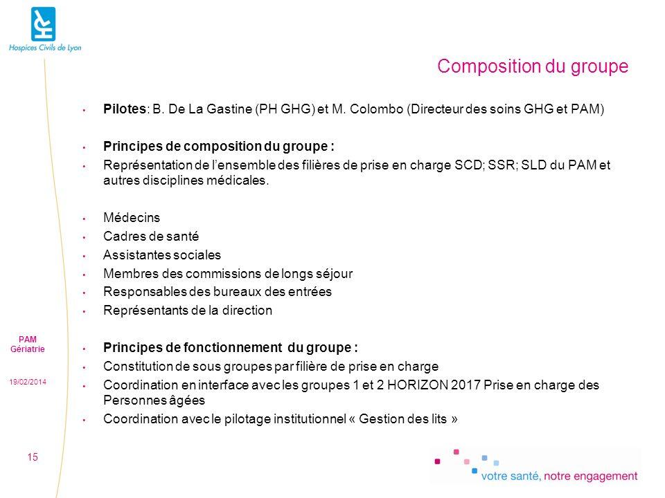 Composition du groupe Pilotes: B. De La Gastine (PH GHG) et M. Colombo (Directeur des soins GHG et PAM)