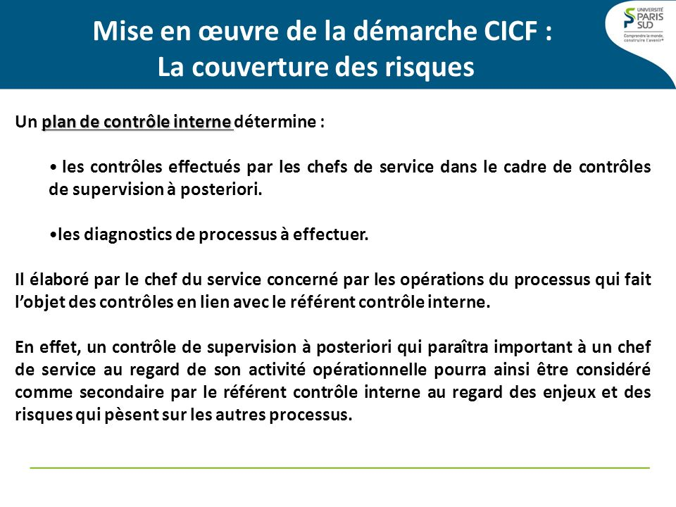 Mise en œuvre de la démarche CICF : La couverture des risques