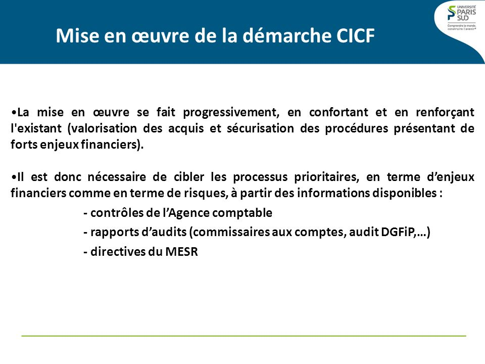 Mise en œuvre de la démarche CICF