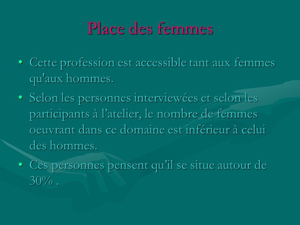 Place des femmes Cette profession est accessible tant aux femmes qu aux hommes.