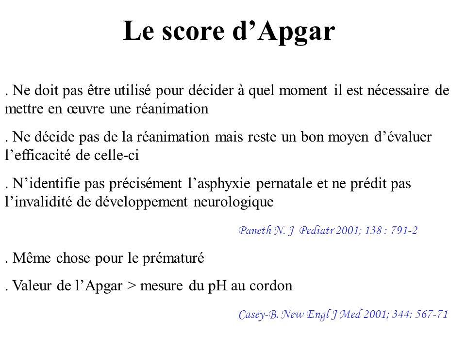 Le score d'Apgar . Ne doit pas être utilisé pour décider à quel moment il est nécessaire de mettre en œuvre une réanimation.