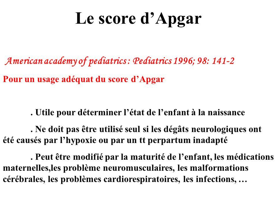 Le score d'Apgar American academy of pediatrics : Pediatrics 1996; 98: 141-2. Pour un usage adéquat du score d'Apgar.
