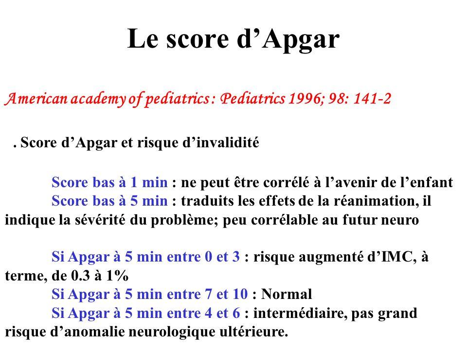 Le score d'Apgar American academy of pediatrics : Pediatrics 1996; 98: 141-2. . Score d'Apgar et risque d'invalidité.