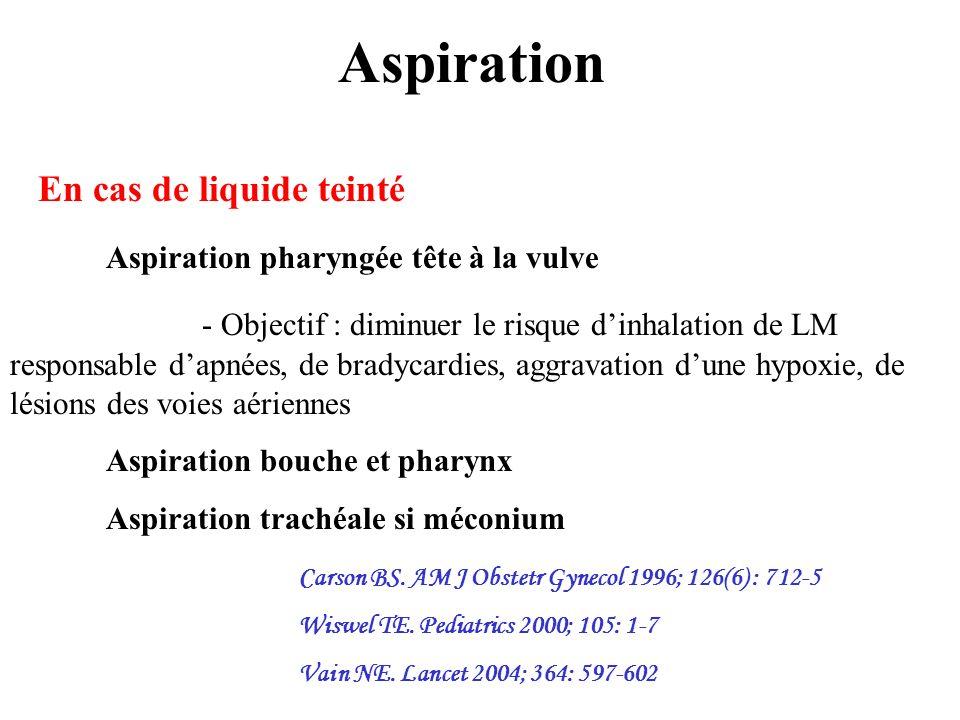 Aspiration En cas de liquide teinté