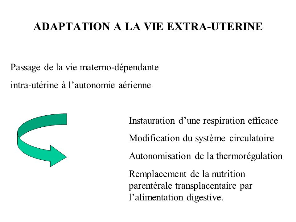 ADAPTATION A LA VIE EXTRA-UTERINE