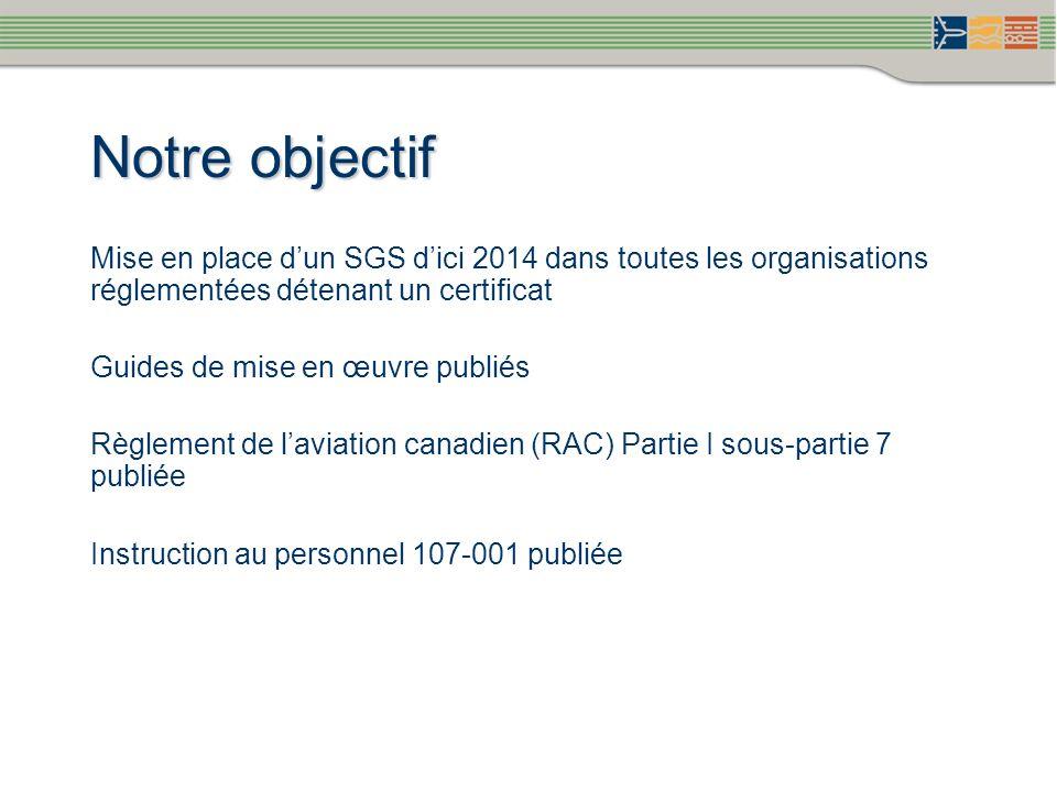 Notre objectif Mise en place d'un SGS d'ici 2014 dans toutes les organisations réglementées détenant un certificat.
