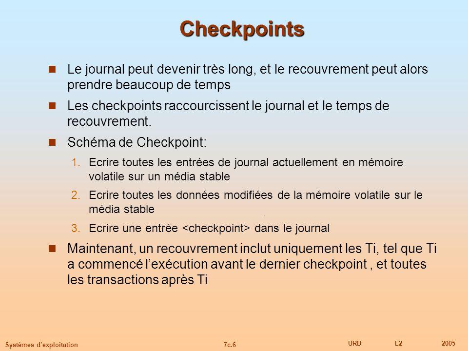 Checkpoints Le journal peut devenir très long, et le recouvrement peut alors prendre beaucoup de temps.