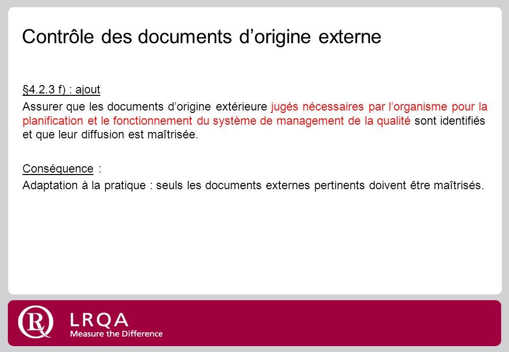 Contrôle des documents d'origine externe