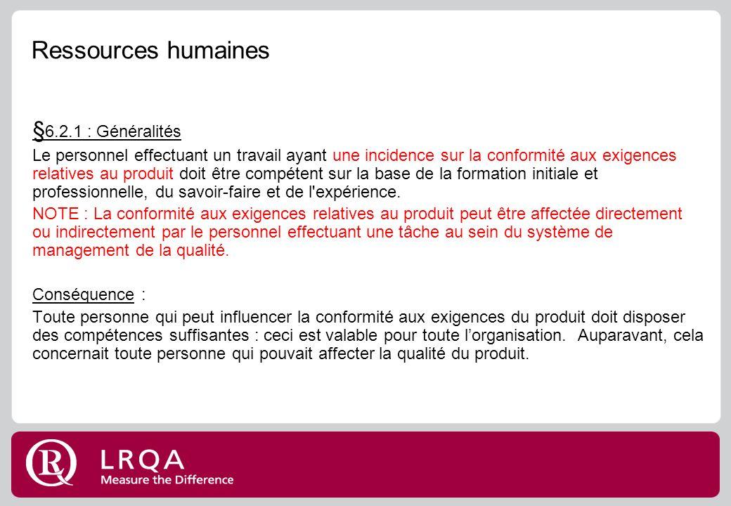 Ressources humaines §6.2.1 : Généralités