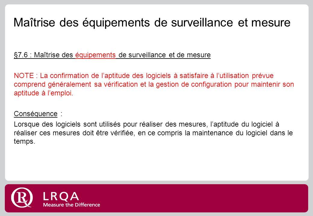 Maîtrise des équipements de surveillance et mesure