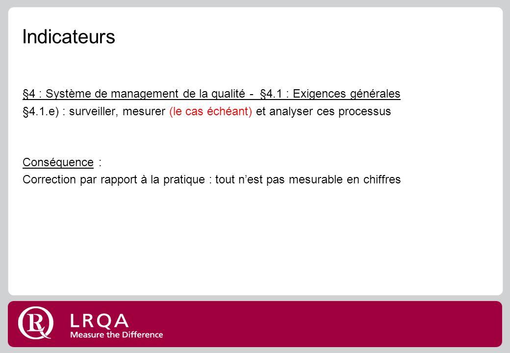 Indicateurs §4 : Système de management de la qualité - §4.1 : Exigences générales.