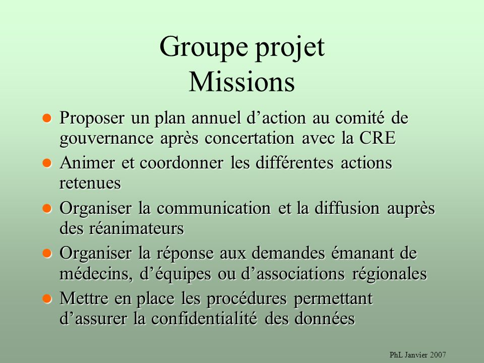 Groupe projet Missions