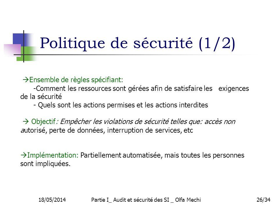 Politique de sécurité (1/2)