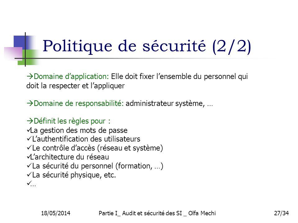 Politique de sécurité (2/2)