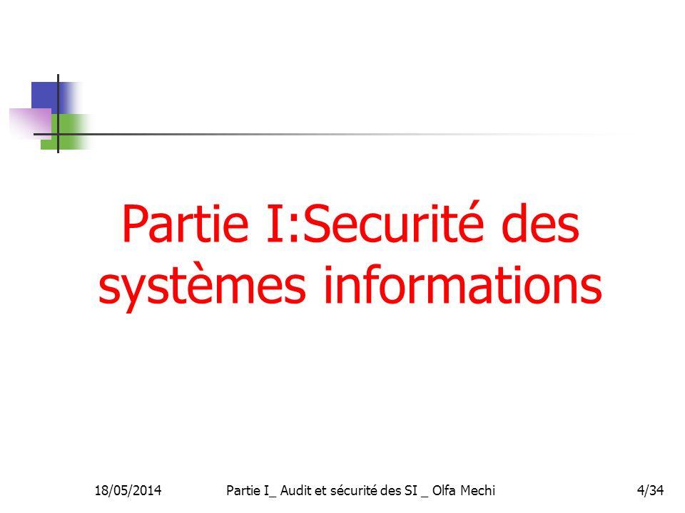 Partie I:Securité des systèmes informations