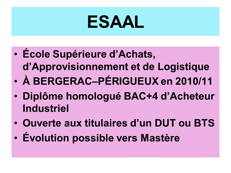 ESAAL École Supérieure d'Achats, d'Approvisionnement et de Logistique