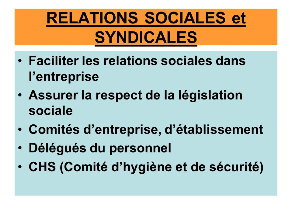 RELATIONS SOCIALES et SYNDICALES