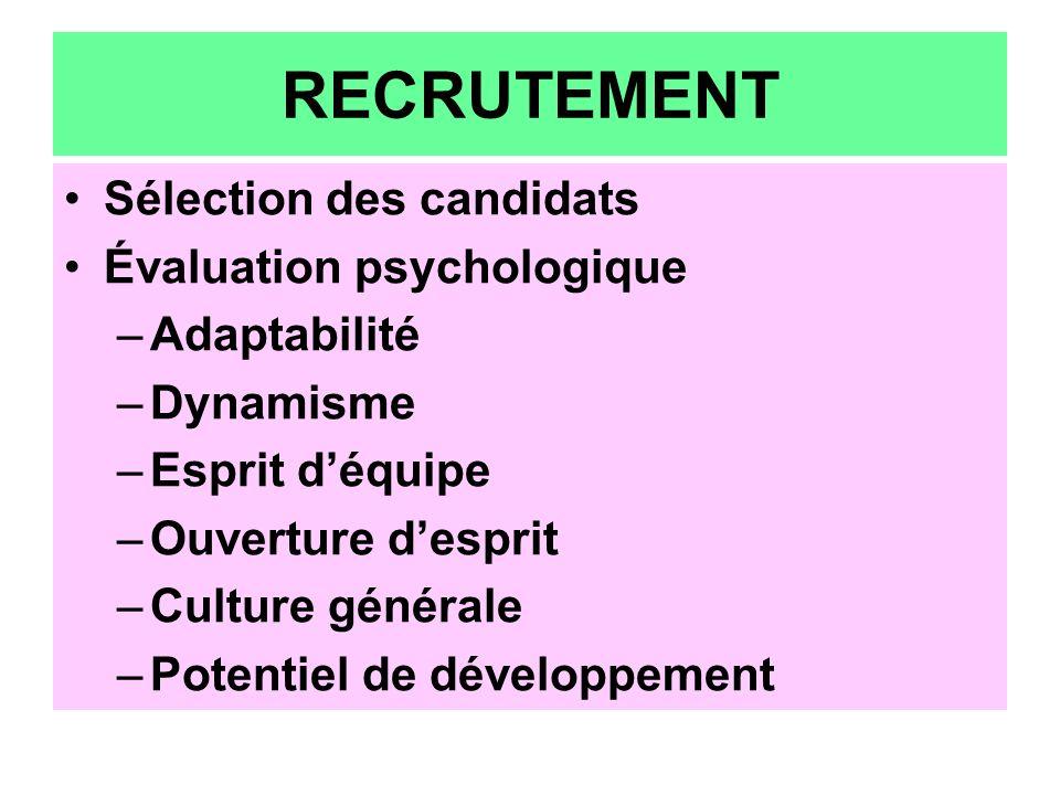 RECRUTEMENT Sélection des candidats Évaluation psychologique