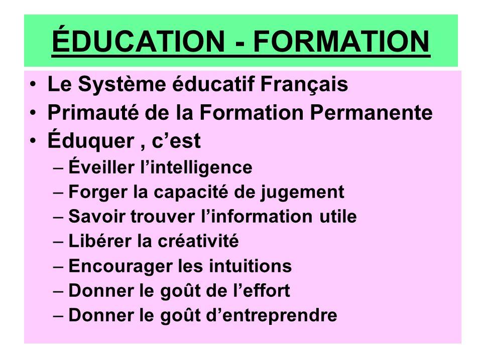 ÉDUCATION - FORMATION Le Système éducatif Français