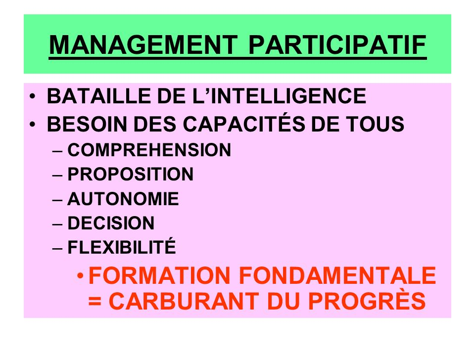 MANAGEMENT PARTICIPATIF